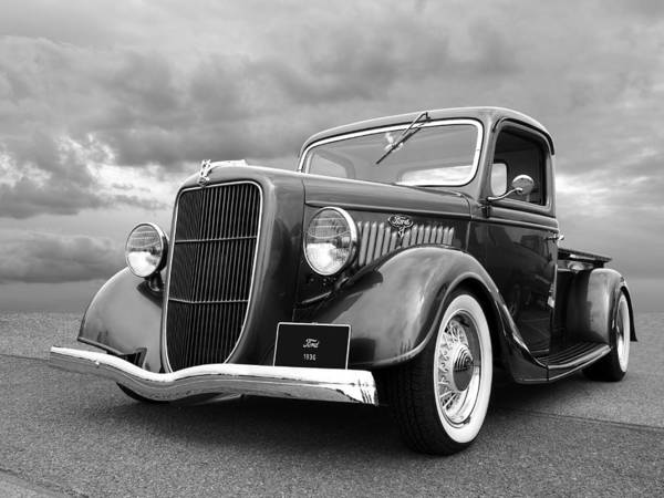 Photograph - 1936 Ford V8 In Black And White by Gill Billington