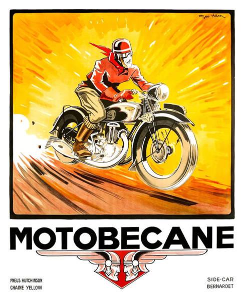 Wall Art - Digital Art - 1936 Geo Ham Motobecane Motorcycle Poster by Retro Graphics