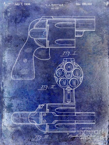 Wesson Photograph - 1936 Gun Patent Blue by Jon Neidert