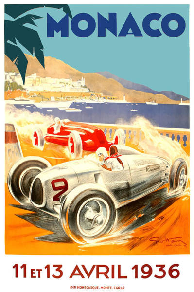 Wall Art - Digital Art - 1936 Monaco Grand Prix Race Poster by Retro Graphics