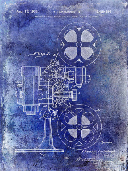 1937 Photograph - 1936 Movie Projector Patent Blue by Jon Neidert