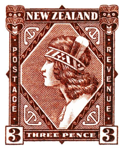 Indigenous Digital Art - 1936 New Zealand Maori Girl Postage Stamp by Retro Graphics