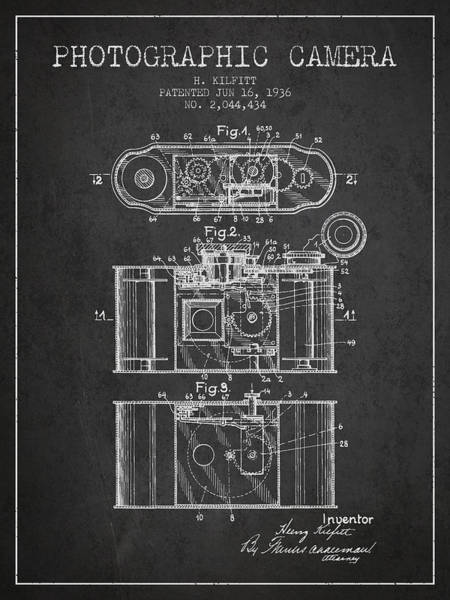 Lens Digital Art - 1936 Photographic Camera Patent - Charcoal by Aged Pixel