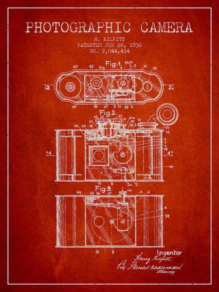 Lens Digital Art - 1936 Photographic Camera Patent - Red by Aged Pixel