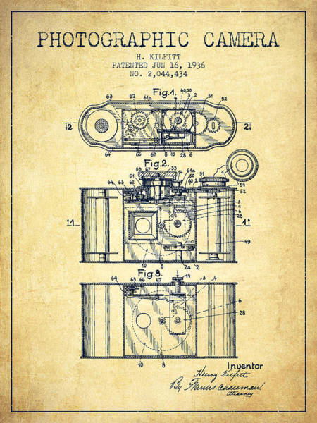 Lens Digital Art - 1936 Photographic Camera Patent - Vintage by Aged Pixel