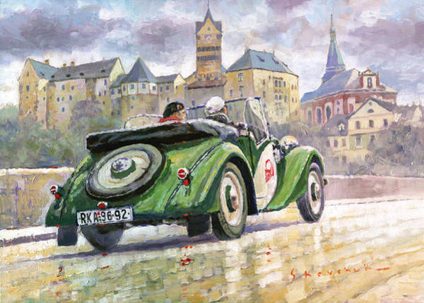 Nostalgia Painting - 1936 Praga Baby Roadster And Loket Kastle by Yuriy Shevchuk