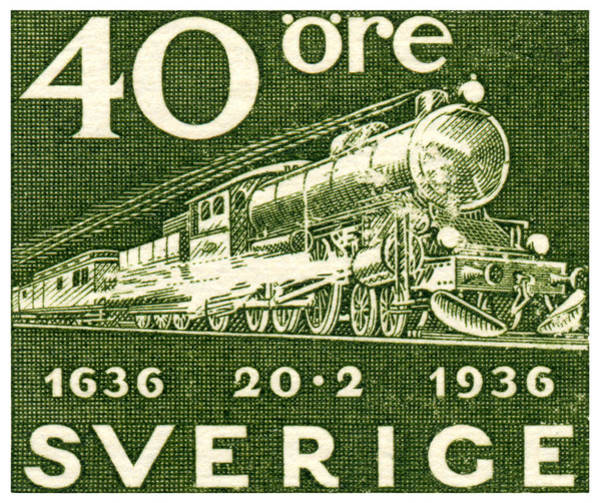 Model Trains Painting - 1936 Swedish Railroad Stamp by Historic Image