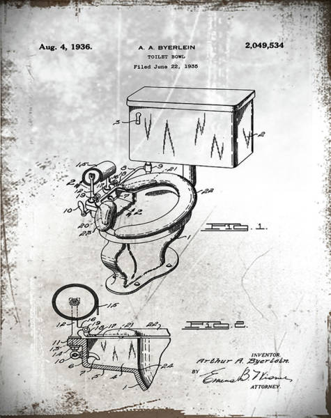 Wall Art - Photograph - 1936 Toilet Bowl Patent Antique by Bill Cannon