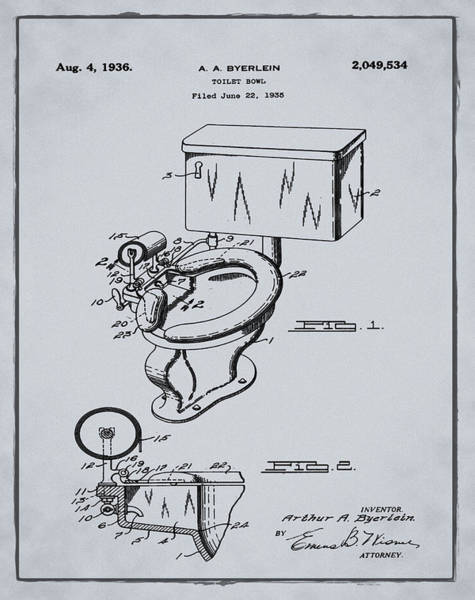 Wall Art - Photograph - 1936 Toilet Bowl Patent Antique Gray by Bill Cannon