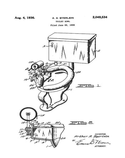 Wall Art - Photograph - 1936 Toilet Bowl Patent by Bill Cannon