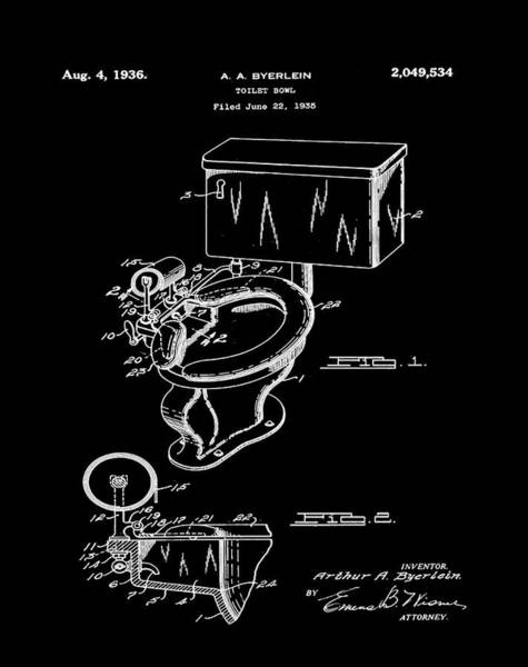 Wall Art - Photograph - 1936 Toilet Bowl Patent Black by Bill Cannon