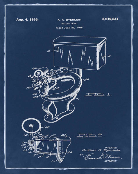 Wall Art - Photograph - 1936 Toilet Bowl Patent Blue by Bill Cannon