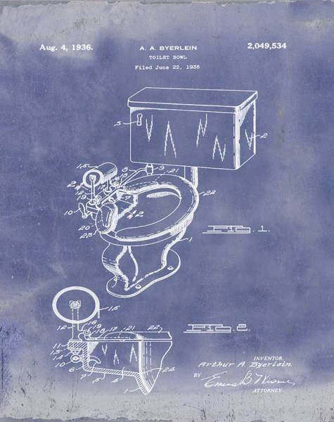 Wall Art - Photograph - 1936 Toilet Bowl Patent Blue Grunge by Bill Cannon