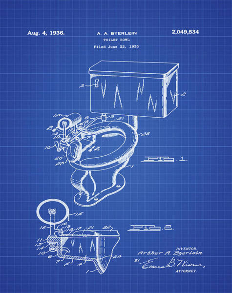 Wall Art - Photograph - 1936 Toilet Bowl Patent Blue Print by Bill Cannon