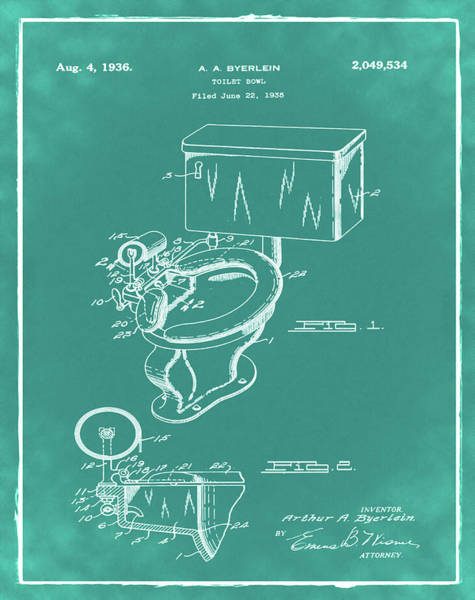Wall Art - Photograph - 1936 Toilet Bowl Patent Green by Bill Cannon
