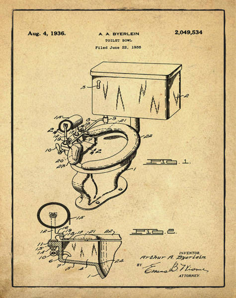 Wall Art - Photograph - 1936 Toilet Bowl Patent Sepia by Bill Cannon