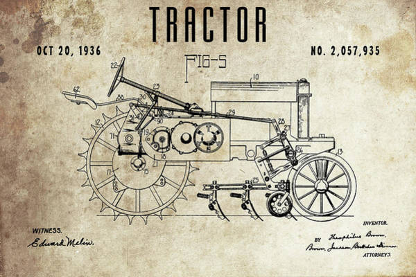 Drawing - 1936 Tractor Patent by Dan Sproul