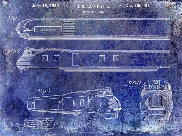 Rr Photograph - 1936 Train Patent Blue by Jon Neidert