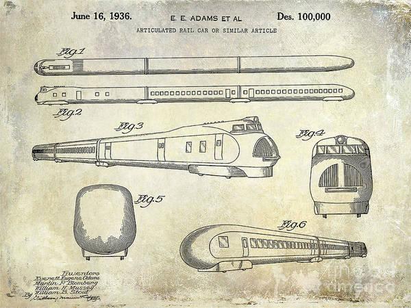 Rr Photograph - 1936 Train Patent  by Jon Neidert
