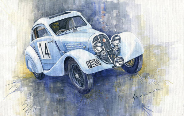 Wall Art - Painting - 1937 Aero 750 Sport Coupe by Yuriy Shevchuk