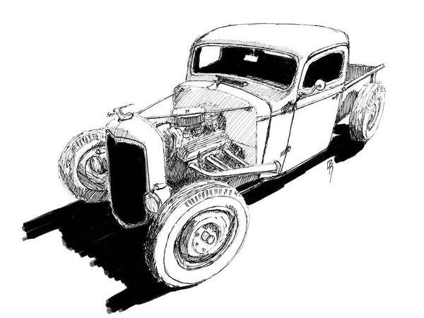 Hot Rod Drawing - 1937 Chevy Bobber Truck Hot Rod Ink Dwg by David King