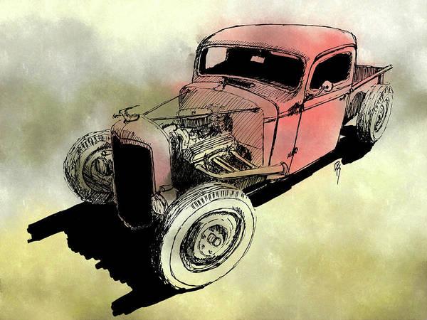 Digital Art - 1937 Chevy Bobber Truck Hot Rod Mxd by David King