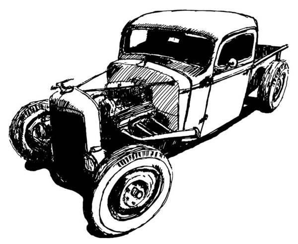 Digital Art - 1937 Chevy Bobber Truck Hot Rod Tee by David King