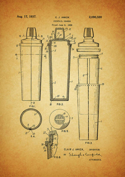 Olives Mixed Media - 1937 Cocktail Shaker Patent by Dan Sproul
