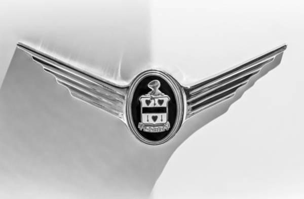 Photograph - 1937 Cord 812 Sc Phaeton Emblem -1200bw by Jill Reger