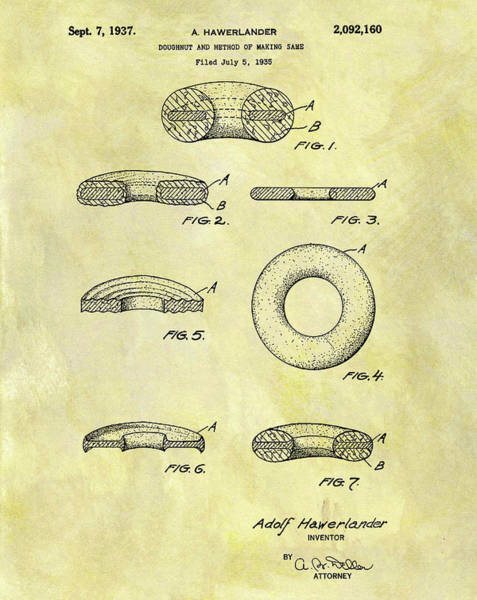 Wall Art - Mixed Media - 1937 Doughnut Patent by Dan Sproul
