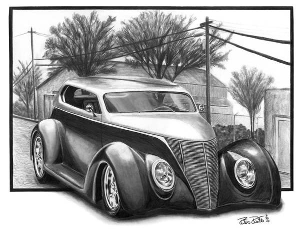 Hot Rod Drawing - 1937 Ford Sedan by Peter Piatt