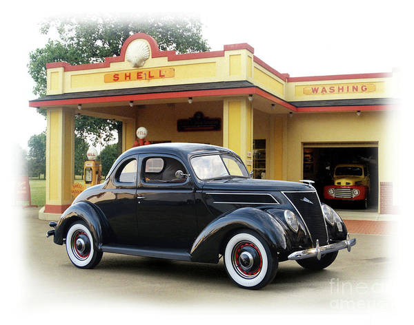 Wall Art - Photograph - 1937 Ford, Vintage Shell Station by Ron Long