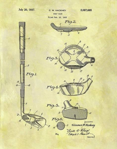 Wall Art - Drawing - 1937 Golf Club Patent by Dan Sproul
