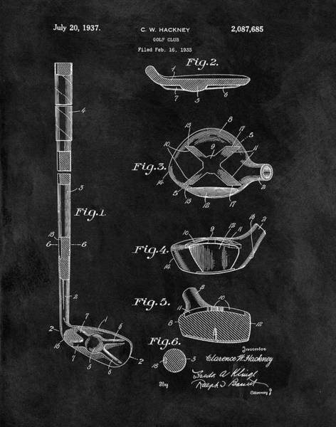 Wall Art - Drawing - 1937 Golf Club Patent Illustration by Dan Sproul