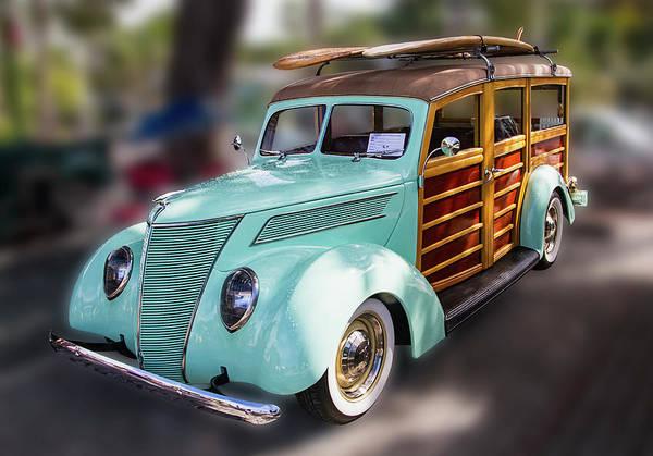 Photograph - 1937 Green Woody Automobile by Bob Slitzan