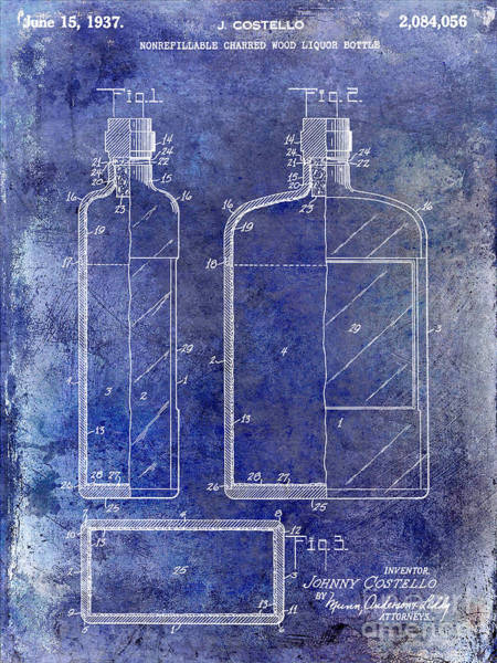 Flask Wall Art - Photograph - 1937 Liquor Bottle Patent Blue by Jon Neidert