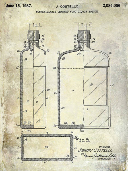 Flask Wall Art - Photograph - 1937 Liquor Bottle Patent  by Jon Neidert