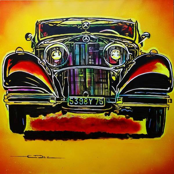 Painting - 1937 Mercedes Benz First Wheel Down by Eric Dee