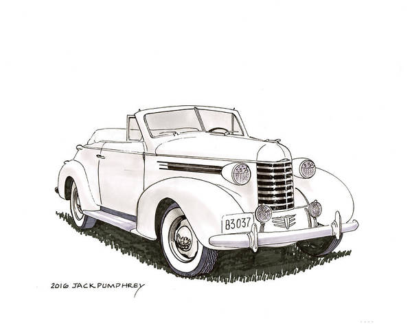 Wall Art - Painting - 1937 Oldsmobile Convertible by Jack Pumphrey