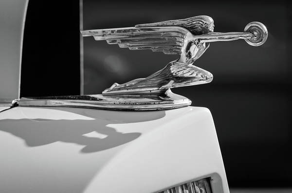 Wall Art - Photograph - 1937 Packard 2-door Touring Hood Ornament -0726bw by Jill Reger