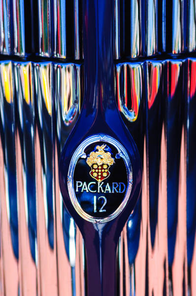 Photograph - 1937 Packard Twelve Convertible Sedan Emblem -0373c by Jill Reger