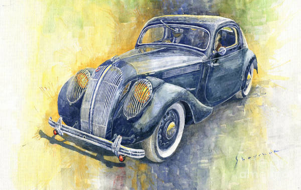 1937 Wall Art - Painting - 1937 Skoda Popular Sport Monte Carlo by Yuriy Shevchuk