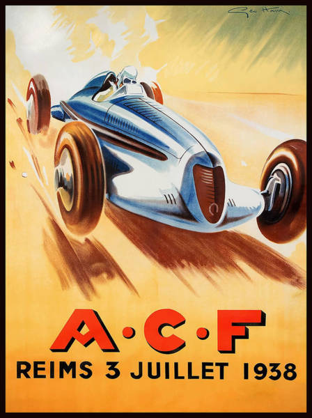 Autosport Wall Art - Digital Art - 1938 Acf Grand Prix Reims France Automobile Race by Retro Graphics