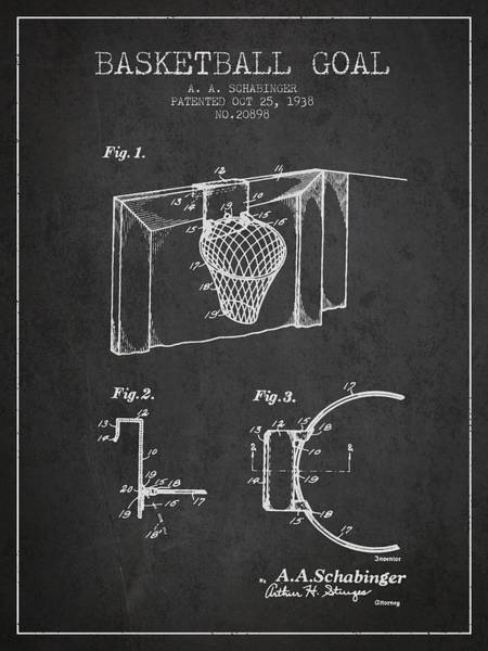 Wall Art - Digital Art - 1938 Basketball Goal Patent - Charcoal by Aged Pixel