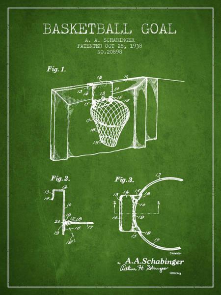 Wall Art - Digital Art - 1938 Basketball Goal Patent - Green by Aged Pixel