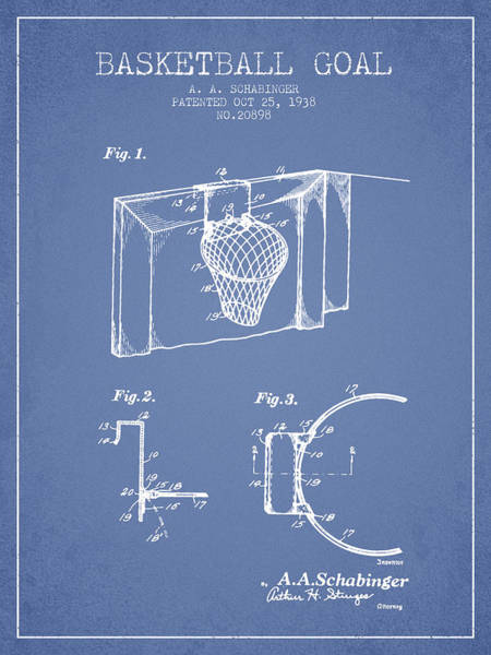 Wall Art - Digital Art - 1938 Basketball Goal Patent - Light Blue by Aged Pixel