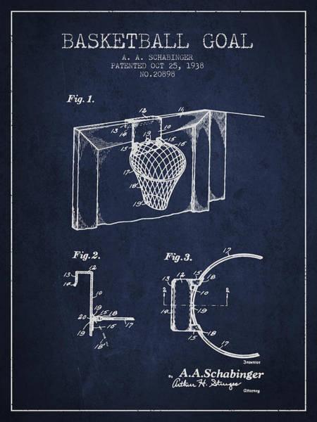 National Basketball Association Wall Art - Digital Art - 1938 Basketball Goal Patent - Navy Blue by Aged Pixel