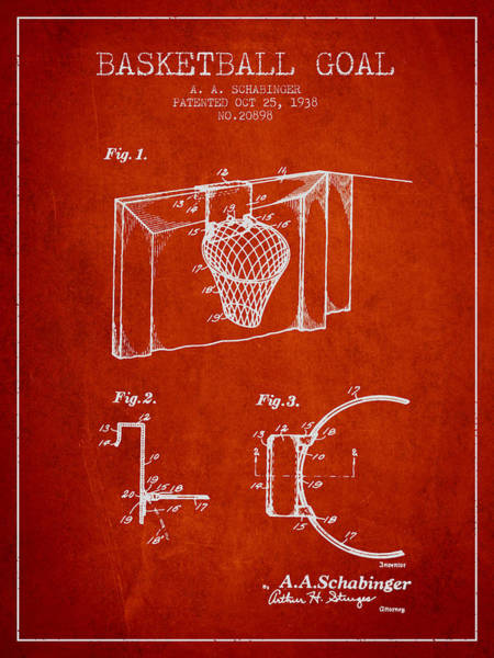 Wall Art - Digital Art - 1938 Basketball Goal Patent - Red by Aged Pixel