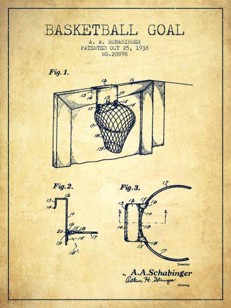 Wall Art - Digital Art - 1938 Basketball Goal Patent - Vintage by Aged Pixel