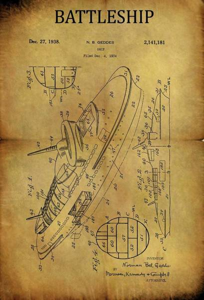 Drawing - 1938 Battleship Patent by Dan Sproul
